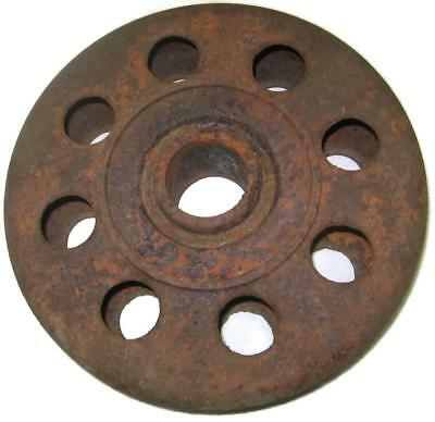 Cast Iron 10 Inch Hollow Steel Wheel - Old Rusty Farm Industrial Primitive Part