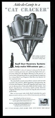 1943 oil well gas processing Cat Cracker Buell Cyclone vintage print ad