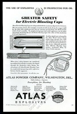 1935 Atlas Explosives oil well drilling electric blasting caps trade print ad