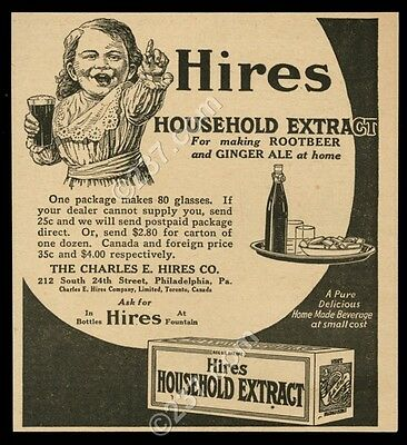 1923 Hires Root Beer household extract rootbeer and ginger ale vintage print ad