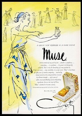 1946 Coty Muse perfume bottle box woman color art vintage print ad