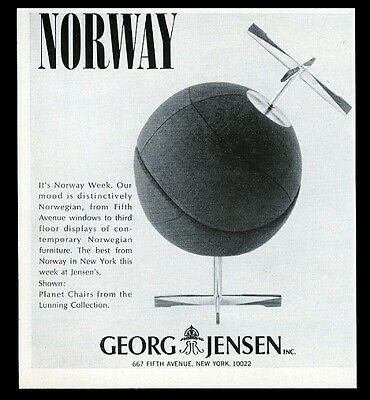 1965 Norwegian Lunning Collection Planet Chair photo George Jensen print ad