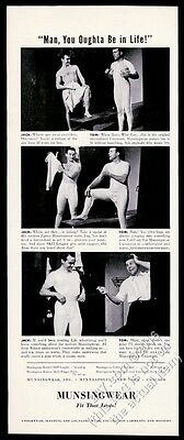 1940 Munsingwear underwear 2 men lockerroom photo You Oughta Be In Life print ad