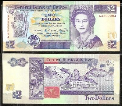 Belize P-52a Central Bank of Belize 2 Dollars AA,1.5.1990 UNC
