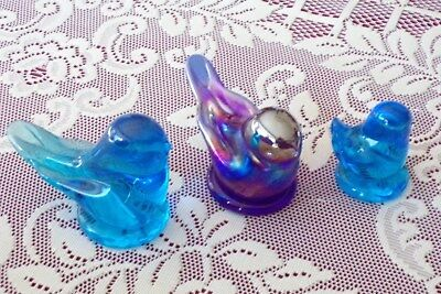 Leonard Bluebird of Happiness RARE Carnival & Blue Glass Bird Figurines Signed