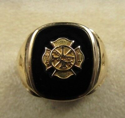 Mens Vintage 10K Gold Onyx Firefighter Fire Department Ring