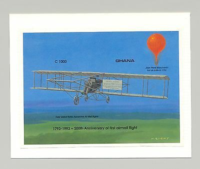 Ghana #1564 Aviation, Airmail, Balloons 1v S/S Imperf Proof Mounted on Card