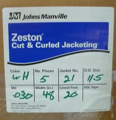 "Zeston PVC Cut & Curled Jacketing 30 Mil 48"" 20' 5 pieces #21 (11.5 od) White"