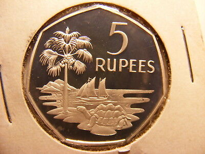 Seychelles 5 Rupees, 1974, Silver Proof, Slight tone