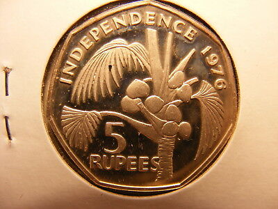 Seychelles 5 Rupees, 1976, Declaration of Independence, Silver toned Proof