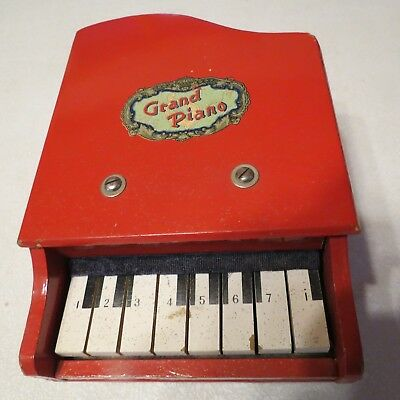 Toy Grand Piano Red Wooden Vintage or Antique