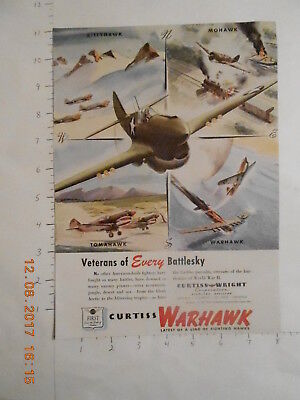1943 Curtiss Wright Corp Airplane WWII military aircraft AD Tomahawk Warhawk