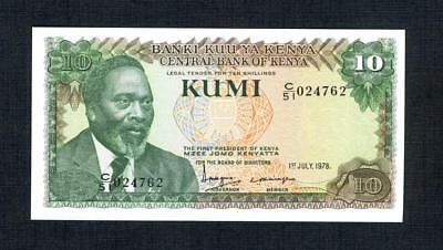 1978 Kenya Kumi (10 shillings) P#16 Crisp UNC note w/ cattle on reverse Colorful