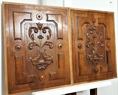 Pair Hand Carved Wood Panel Antique French Walnut Griffin Architectural Salvage