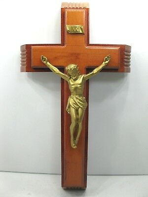 Vintage Wooden Catholic Last Rites Sick Call Crucifix Cross Candles Holy Water N