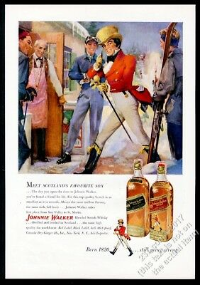 1951 Johnnie Walker Scotch Whisky skier after skiing theme art vintage print ad