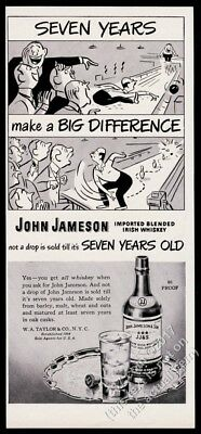 1948 Jameson's Irish Whiskey bowling cartoon art vintage print ad