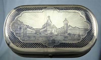 Rare Russian 84 Silver Niello Chased Scenic Cheroot Cigar Case Moscow 1868