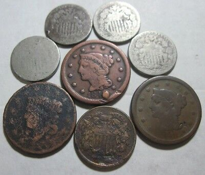 8 Coins * 3 Large Cents, 4 Shield Nickels, & 1 Two Cent Piece * Combine $2. Ship