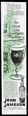 1963 John Jameson Whiskey Irish Coffee glass art vintage print ad