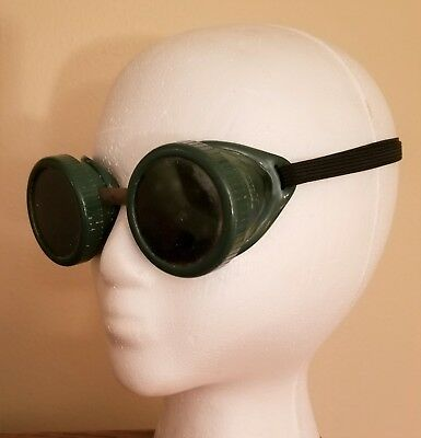 Oxweld Welding Safety Goggles Glasses Green Lens Steampunk Motorcycle