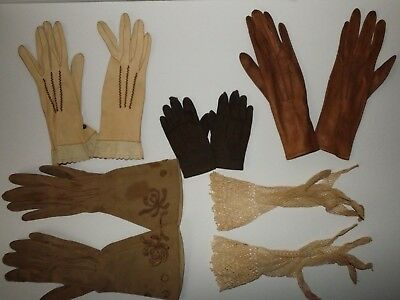 Vtg Lot Of 5 Pairs Ladies & Childs Gloves Variety Lengths Colors Styles Fabric