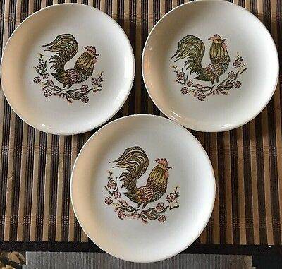 """Set Of 3 Vintage Taylor Smith Taylor TS&T Rooster 6 5/8"""" Saucers"""