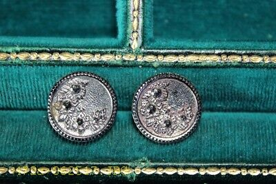 Lot of 2 Matching Antique Victorian Era Black Glass Buttons Floral Design 18mm