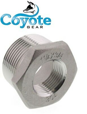 "304 SS 1-1/4"" Male x 3/4"" Female NPT Thread Hex Reducer Bushing Stainless"