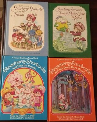 Vintage Lot of 4 Strawberry Shortcake Books Parker Brothers American Greetings