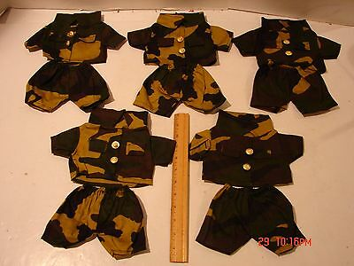 Lot 5 Sets 12In Doll Clothing Outfit Military Camouflage Army Shirt Coat Shorts