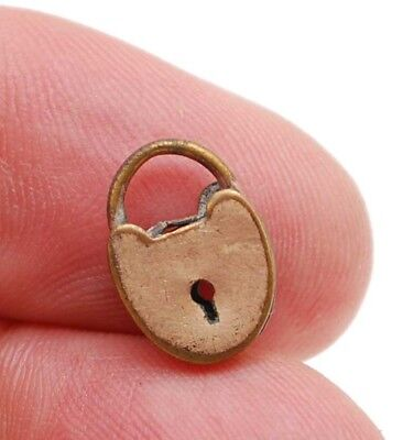 Antique Miniature Tiny Brass Padlock Charm No Key