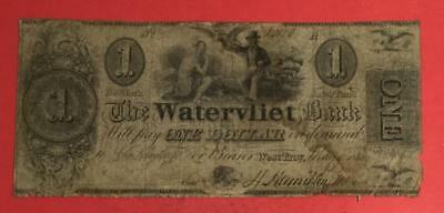 "1838 $1 ""Watervliet"" LARGE SIZE Currency ""WEST TROY, New York! Obsolete!"