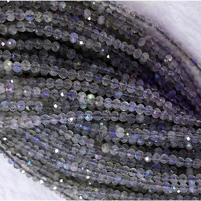 Natural Genuine Gray Blue Labradorite Hand Cut Faceted Small Round Beads 2mm