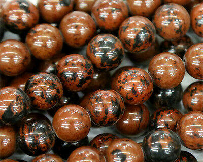 Discount Wholesale Natural Mahogany Obsidian Round Loose Jewelry Beads 2-14mm