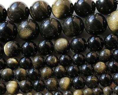 Wholesle Natural Genuine Golden Flash Gold Obsidian Round Loose Beads 4-16mm