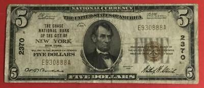 1929 $5 Brown Seal National Currency New YOrk X888 CHASE! FINE! Old Currency