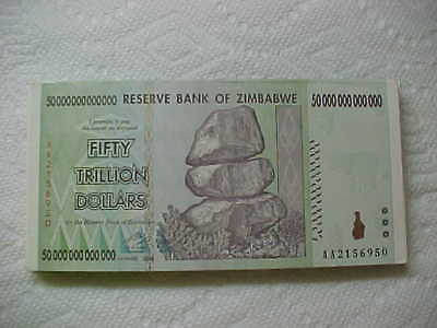Zimbabwe 50 ( Fifty) Trillion Dollars, Uncirculated  ,TWO  NOTES