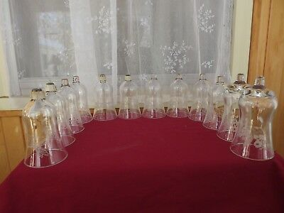 Lot of 12 Vintage Clear Etched Angel, Heart, Sled, etc Home Interior Votive Cups