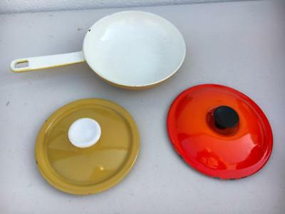 Enameled Cast Iron MADE Belgium 2 ASSORTED LIDS~Le Creuset~ 1 SMALL SKILLET~