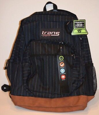 Trans by Jansport Backpack Brown Leather Bottom NWT Laptop Sleeve Black Striped