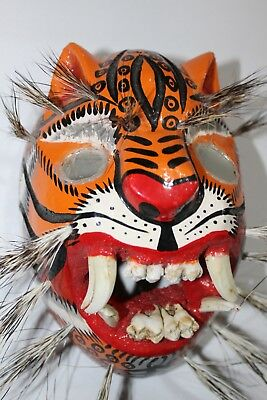 442 Tigre Mirror Eyes Wooden Mexican Mask  Tiger  Madera Artesania Chilapa