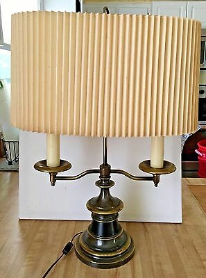 Vintage Large Black Brass Double Candlestick Lamp w/ Pleated Oval Shade