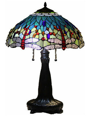 """Tiffany Style Stained Glass 18"""" Wide Table Lamp Aqua Dragonfly w/ Metal Base"""