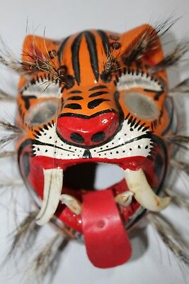 458 Tigre Mirror Eyes Wooden Mexican Mask  Tiger  Madera Artesania Chilapa