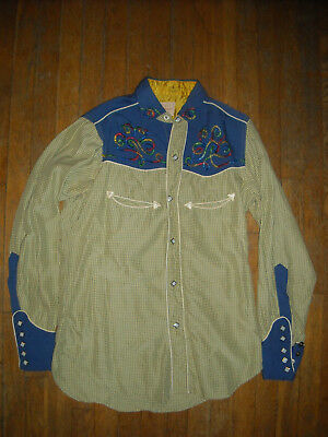 Vtg 50S Men Small Las Vegas Joe Cowboy Western Rayon Gabardine Embroidered Shirt