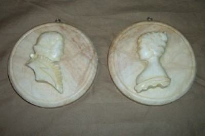 Antique Signed French Couple Carved Solid Marble Relief Intaglio Bust Plaques
