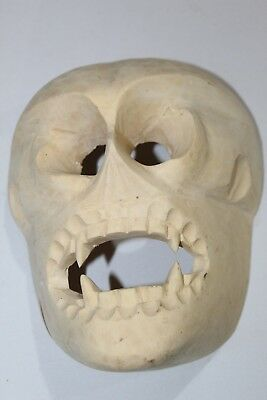 483 Raw Skull Wooden Mexican Mask Coleccion Madera Decoracion Artesania