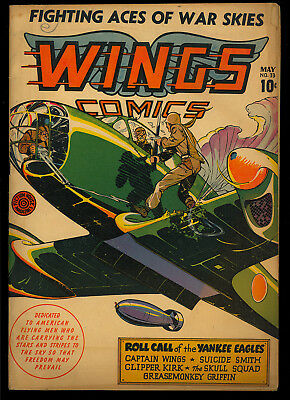 Wings Comics #33 Nice WWII Golden Age Fiction House War Comic 1943 VG+