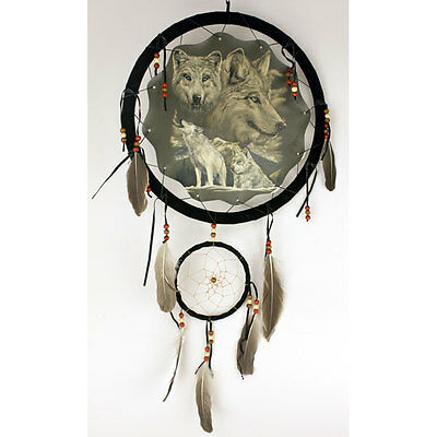 """13"""" Wolf Wolves Howl Dream Catcher Wall Hang Decor Feathers Beads Gift DCB1327"""